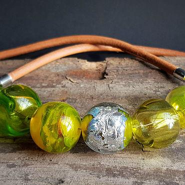 """Украшения ручной работы. Ярмарка Мастеров - ручная работа Колье """"Лайм на серебре"""" венецианское стекло. Handmade."""