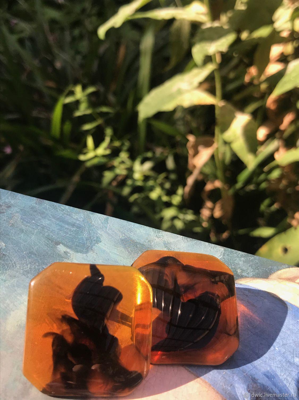 Almond clips, Lucite plastic, Holland, Vintage earrings, Arnhem,  Фото №1