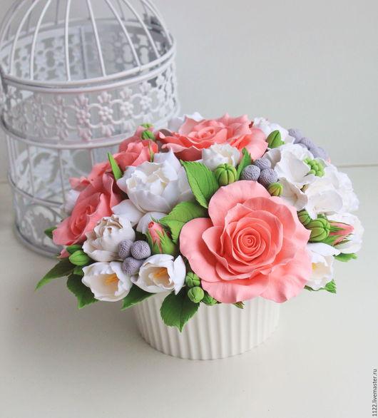 Букеты ручной работы. Ярмарка Мастеров - ручная работа. Купить Букет с розами  лососевого цвета. Handmade. Оранжевый