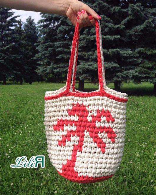 Женские сумки ручной работы. Ярмарка Мастеров - ручная работа. Купить Вязанная пляжная сумка с пальмой. Handmade. Пляжная мода