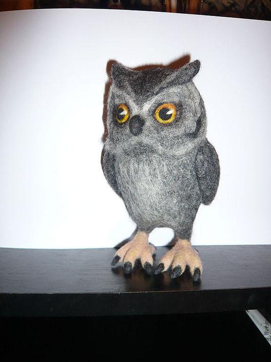 """Игрушки животные, ручной работы. Ярмарка Мастеров - ручная работа. Купить Мудрая птица """"Сова"""" - валяная из шерсти. Войлок.. Handmade."""