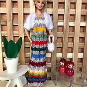 Одежда для кукол ручной работы. Ярмарка Мастеров - ручная работа Стильное вязанное платье для барби. Handmade.