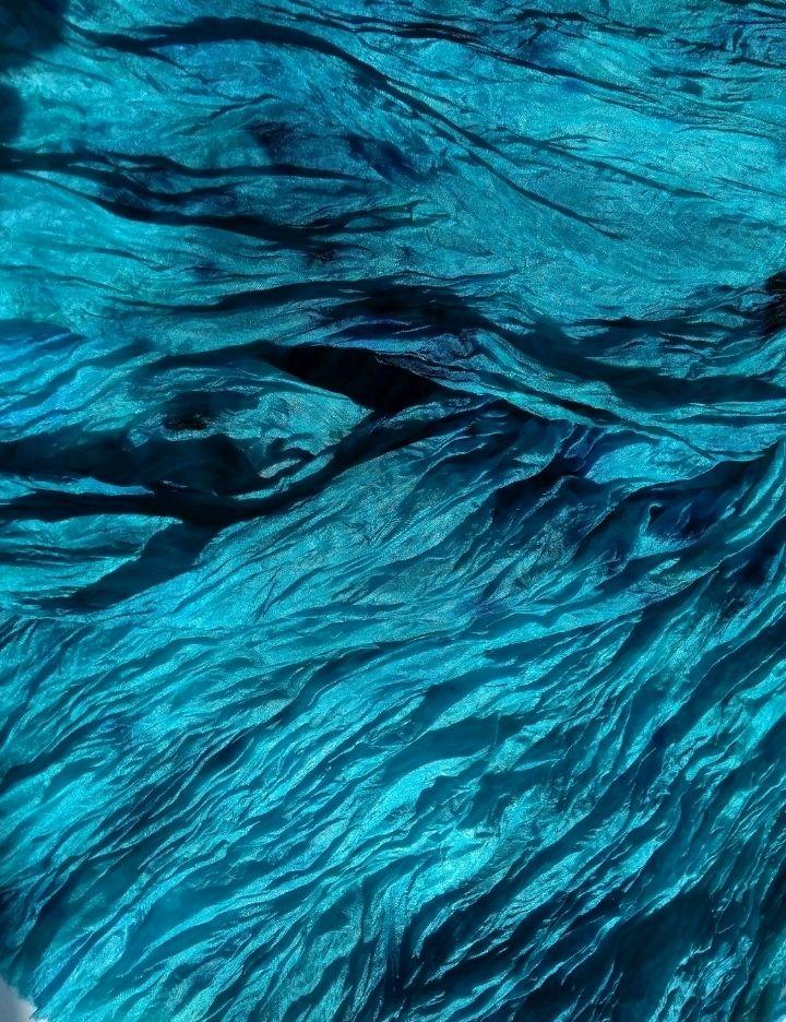 Шарф шелковый батик  сине-зеленый бохо шарф палантин подарок женщине, Палантины, Тверь,  Фото №1