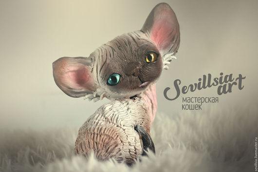 Collectible Dolls handmade. Livemaster - handmade. Buy Bubby, cat Devon Rex.Brown, cat, unusual gift