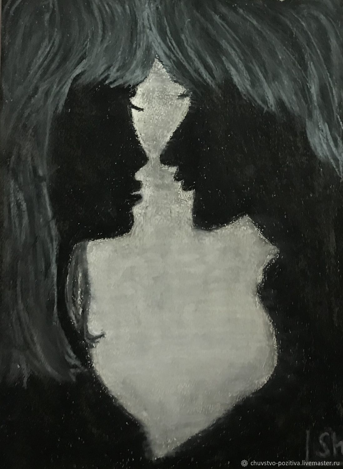 Oil pastel painting with silhouettes of lovers 'Without words' »297h420 mm, Pictures, Volgograd,  Фото №1