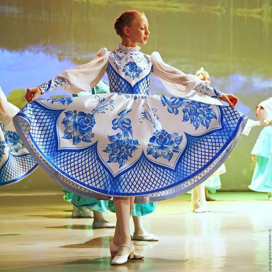 гжель, русский народный костюм, русские узоры,Russian national costume Russian folk dance dress