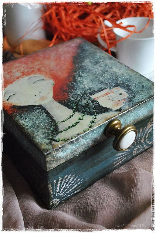 Шкатулки ручной работы. Ярмарка Мастеров - ручная работа. Купить Чайные шкатулки. Handmade. Синий, чайная коробка, акриловые краски