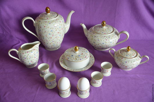 Винтажная посуда. Ярмарка Мастеров - ручная работа. Купить Фарфоровый чайно-кофейный сервиз для завтрака начала хх века.. Handmade.