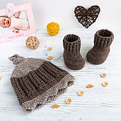 Работы для детей, handmade. Livemaster - original item hat and booties, knitted set for baby boy, brown, beige. Handmade.