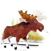 Сувениры и подарки handmade. Livemaster - original item Moose, felted miniature toy. Handmade.