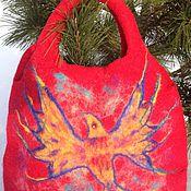 Сумки и аксессуары ручной работы. Ярмарка Мастеров - ручная работа Валяная сумка Феникс красная. Handmade.