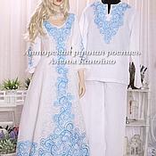 Свадебный салон ручной работы. Ярмарка Мастеров - ручная работа Свадебная пара в тонах Гжели. Handmade.