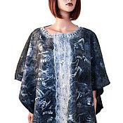 handmade. Livemaster - original item Grey felted Merino wool poncho