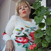 """Одежда ручной работы. Ярмарка Мастеров - ручная работа Пуловер """"Розы на снегу"""". Handmade."""