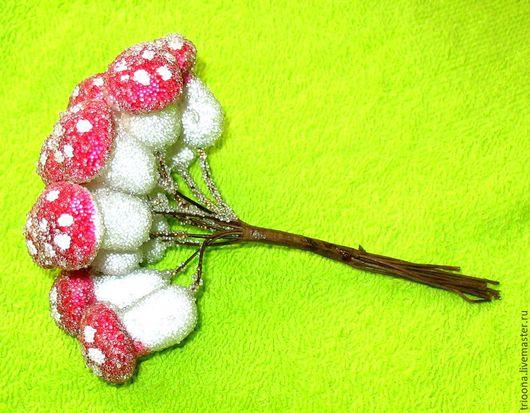 Материалы для флористики ручной работы. Ярмарка Мастеров - ручная работа. Купить Мухоморы в снегу  /103/. Handmade. Мухомор, элемет декора