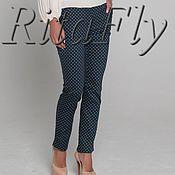 Одежда ручной работы. Ярмарка Мастеров - ручная работа 316: Узкие брюки женские из хлопка, прямые брюки с принтом. Handmade.