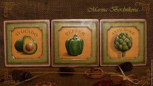 Кухня ручной работы. Ярмарка Мастеров - ручная работа. Купить Комплект панно или вешалочек. Handmade. Оливковый, панно на кухню