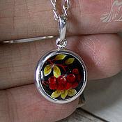 Украшения handmade. Livemaster - original item Diana with Rowan pendant finift, 999 silver. Handmade.