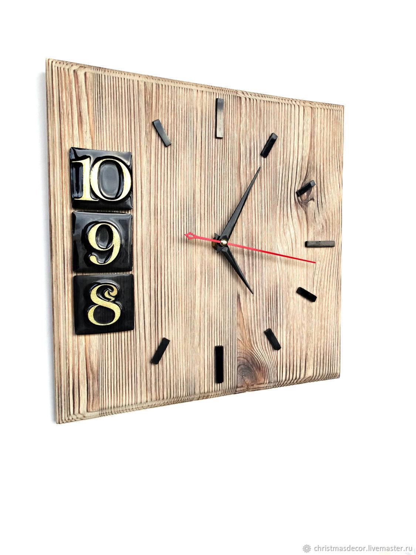 Оригинальные деревянные настенные часы, интересные часы лофт, домашний уют, кантри, лофт, авторские часы, интерьерные часы, кофейный, часы интерьерные, часы авторские, настенные часы