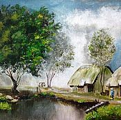 Pictures handmade. Livemaster - original item Landscape village: A village in Asia. Handmade.
