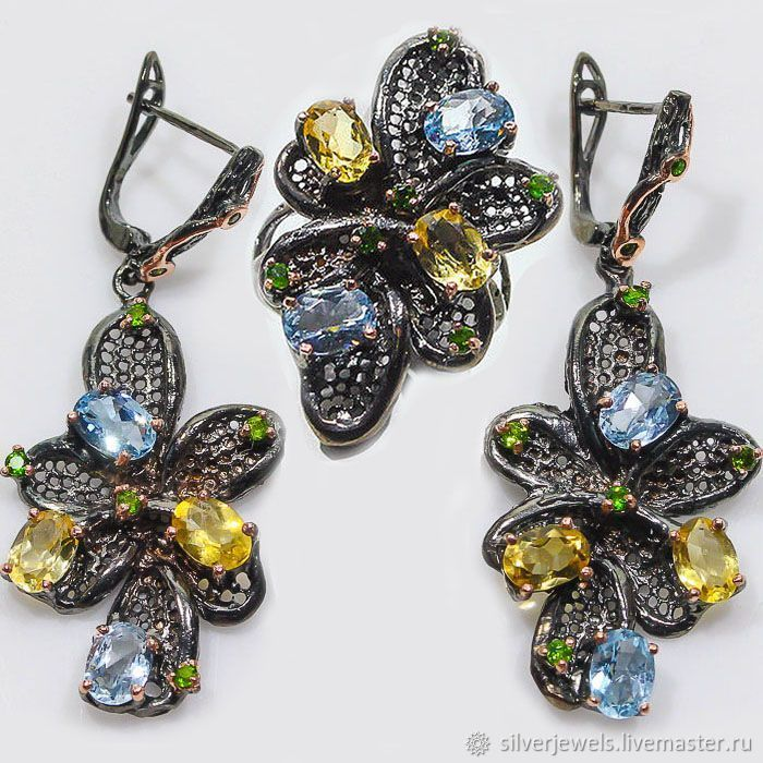 Author's set of handmade 925 silver with natural citrine, Jewelry Sets, Moscow,  Фото №1
