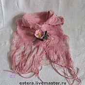 """Аксессуары ручной работы. Ярмарка Мастеров - ручная работа Шарф """"Розовое облако"""" и цветок шиповника. Handmade."""