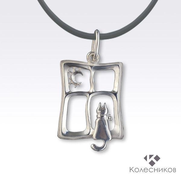 Cat on the window pendant silver (925 silver), Pendants, Yaroslavl,  Фото №1