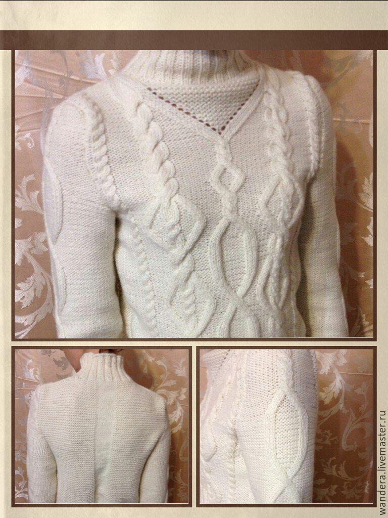 Женский свитер. Размер 46. Длина рукава 60 см, общая длина 62 см. На заказ. Возможны варианты оформления рукавов и спинки.