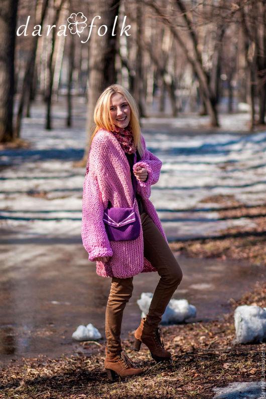 """Этническая одежда ручной работы. Ярмарка Мастеров - ручная работа. Купить Пальто-кардиган """"Милан"""". Handmade. Розовый, ручная вязка"""