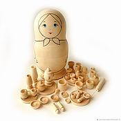 Куклы и игрушки handmade. Livemaster - original item Set of dinnerware (pawns) 38 items in the Matryoshka coloring. Handmade.