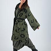 Одежда handmade. Livemaster - original item Green linen vest with hood, Loose cardigan -VE0464CT. Handmade.