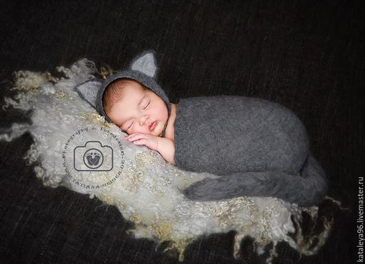 """Для новорожденных, ручной работы. Ярмарка Мастеров - ручная работа. Купить Комплект для фотосессии """"Кошечка"""". Handmade. Серый, Аксессуары handmade"""