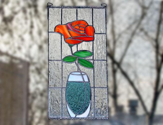 """Картины цветов ручной работы. Ярмарка Мастеров - ручная работа. Купить Витраж Панно """"Ваза"""". Handmade. Цветы, Витраж Тиффани"""