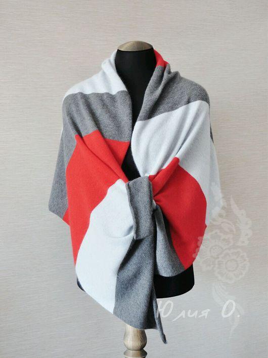 Шарфы и шарфики ручной работы. Ярмарка Мастеров - ручная работа. Купить Готовая работа! теплый палантин шарф вязаный колорблок пушистый. Handmade.