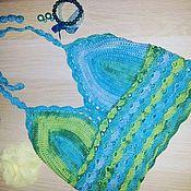 Одежда ручной работы. Ярмарка Мастеров - ручная работа Кроп- топ из натурального хлопка Морская волна. Handmade.