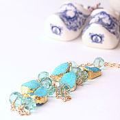Украшения handmade. Livemaster - original item With pendant Aqua with Druze agate and aquaclara, mint. Handmade.