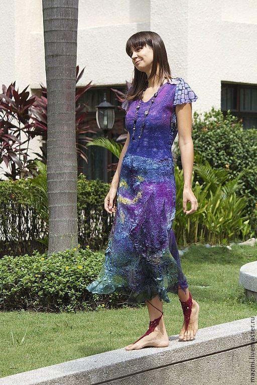 Платья ручной работы. Ярмарка Мастеров - ручная работа. Купить Нуно валяное платье Пурпур. Handmade. Тёмно-фиолетовый