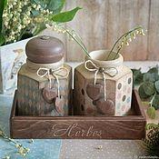 Для дома и интерьера handmade. Livemaster - original item Spice jars Country House. Spice jars decoupage. Handmade.