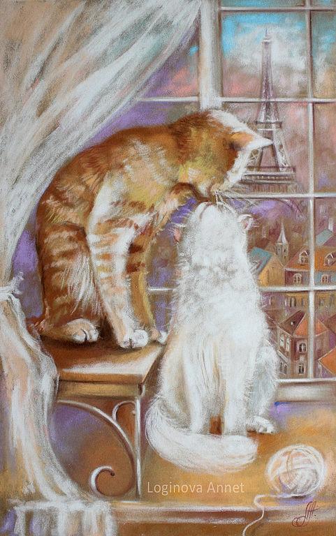 Животные ручной работы. Ярмарка Мастеров - ручная работа. Купить Окно в Париж. Handmade. Кот, картина с котом, коричневый, тепло