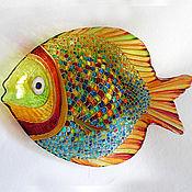 """Посуда ручной работы. Ярмарка Мастеров - ручная работа Декоративная тарелка """"Золотая рыбка"""". Handmade."""