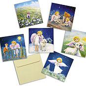 Открытки handmade. Livemaster - original item Large Square greeting card 15h15 cm 6 PCs. Handmade.