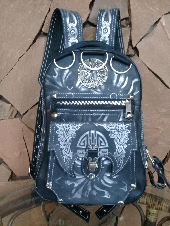 Рюкзак женский Черный с серебром из натуральной кожи , Рюкзаки, Волгоград,  Фото №1