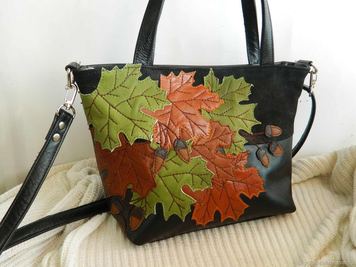 Leather bag bag with applique autumn black u shop online on