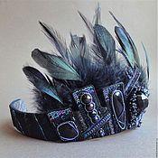 Украшения handmade. Livemaster - original item Tiara BLACK SWAN swarovski, feather, beads, sequins, GIMP, onyx. Handmade.