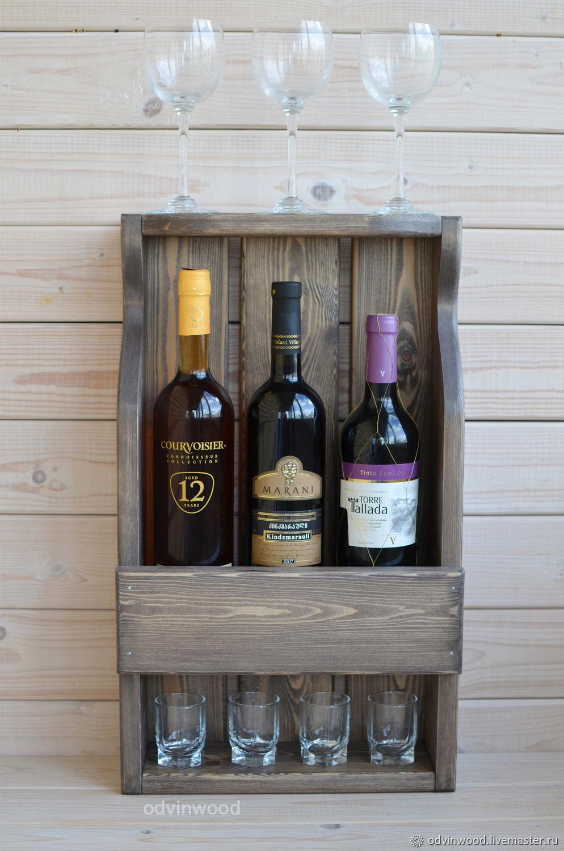 Полка винная деревянная Мэй на 3 винные бутылки с полкой для бокалов, Полки, Псков, Фото №1