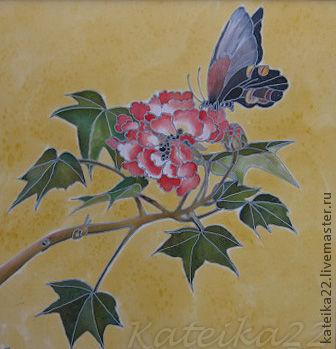 """Картины цветов ручной работы. Ярмарка Мастеров - ручная работа. Купить Картина-батик """"Бабочка на цветке"""". Handmade. Авторская картина"""