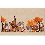 Картины ручной работы. Ярмарка Мастеров - ручная работа Вышитая картина Осенний город и черная кошка. Handmade.