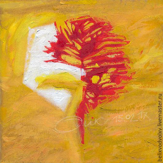 """Абстракция ручной работы. Ярмарка Мастеров - ручная работа. Купить """"Пробник_1"""". Handmade. Желтый, картина, картина маслом, картон, масло"""