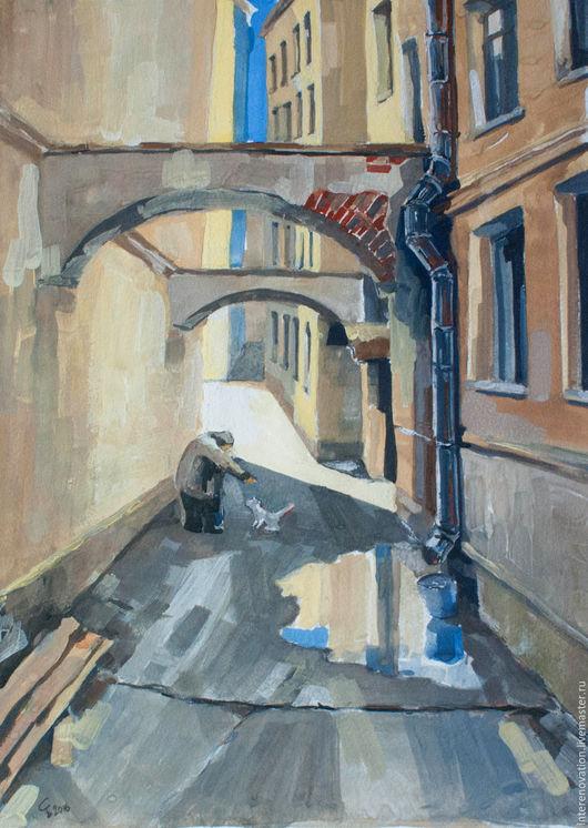 """Город ручной работы. Ярмарка Мастеров - ручная работа. Купить картина гуашь """"Старый маленький человек"""", живопись. Handmade. Бежевый"""