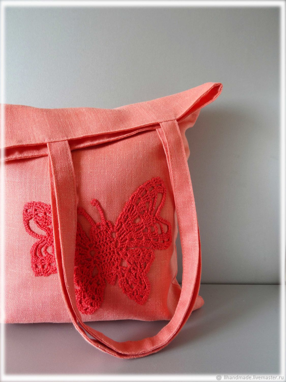 """Эко-сумка """"Персиковое лето"""" - ручная вышивка, авоська, льняная сумка"""